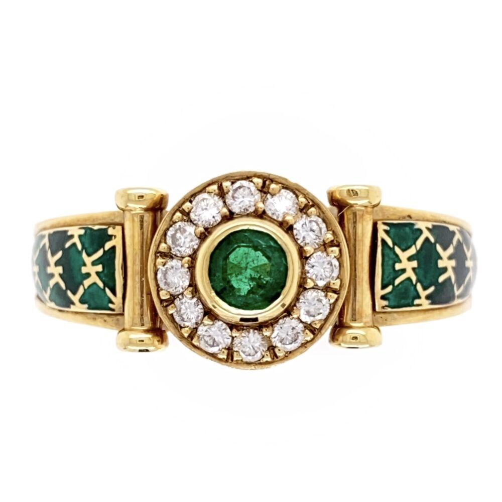 18k Yellow Gold French Emerald, Diamond and Enamel Ring