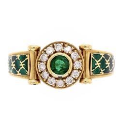 Closeup photo of 18k Yellow Gold French Emerald, Diamond and Enamel Ring