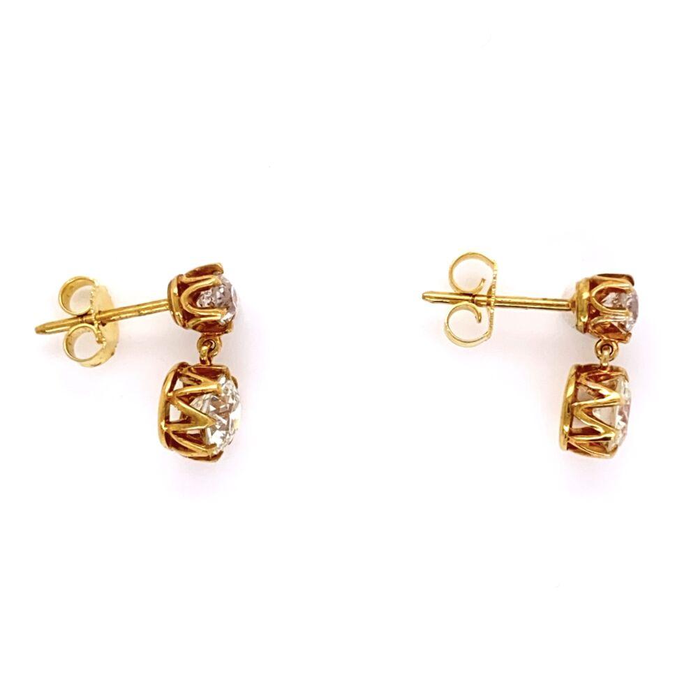 Image 2 for 18K Yellow Gold Drop Earrings 2 OEC=1.60tcw & 2= .36tcw