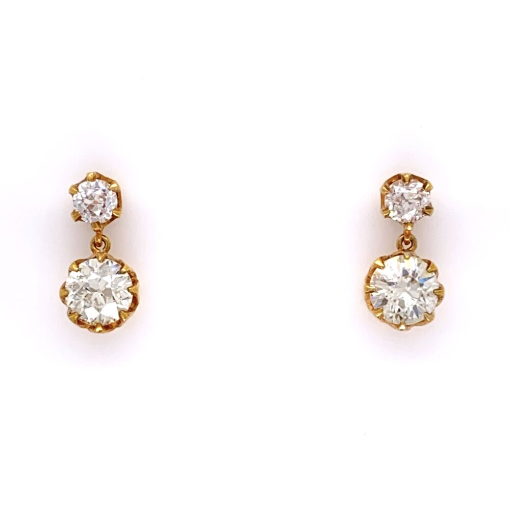 18K Yellow Gold Drop Earrings 2 OEC=1.60tcw & 2= .36tcw