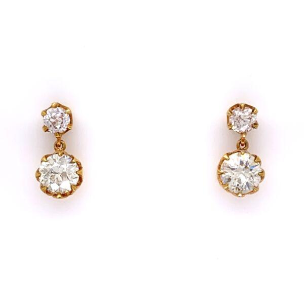 Closeup photo of 18K Yellow Gold Drop Earrings 2 OEC=1.60tcw & 2= .36tcw