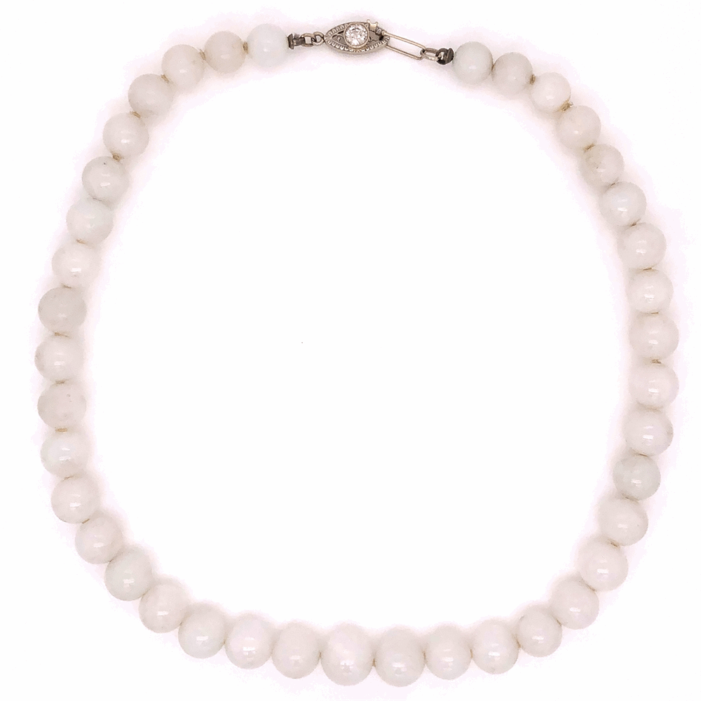 14K White Gold White Jade GIA bead necklace .40ct Diamond clasp