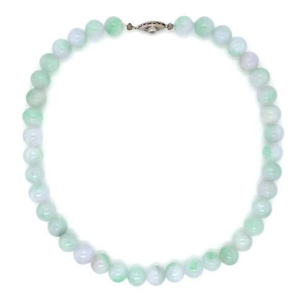 Closeup photo of Natural Green, Lavender & White Jade Bead Necklace with .25ct diamond clasp, 16in.