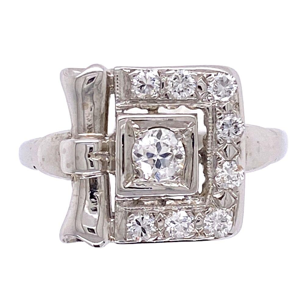 14K White Gold Retro Buckle Style Ring .50tcw diamonds 2.9g, s6.5