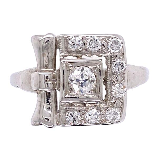 Closeup photo of 14K White Gold Retro Buckle Style Ring .50tcw diamonds 2.9g, s6.5