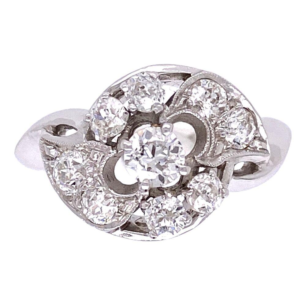14K White Gold Diamond Cluster Ring .65tcw, c1960's, 3.9g, s6