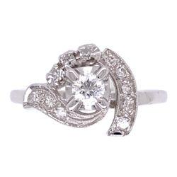 Closeup photo of 14K White Gold Deco Bypass Circle Ring .32tcw diamonds c1930's, 2.4g, s4.75