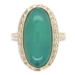 Closeup photo of 18K White Gold Vintage Chrysoprase Ring with Engraving