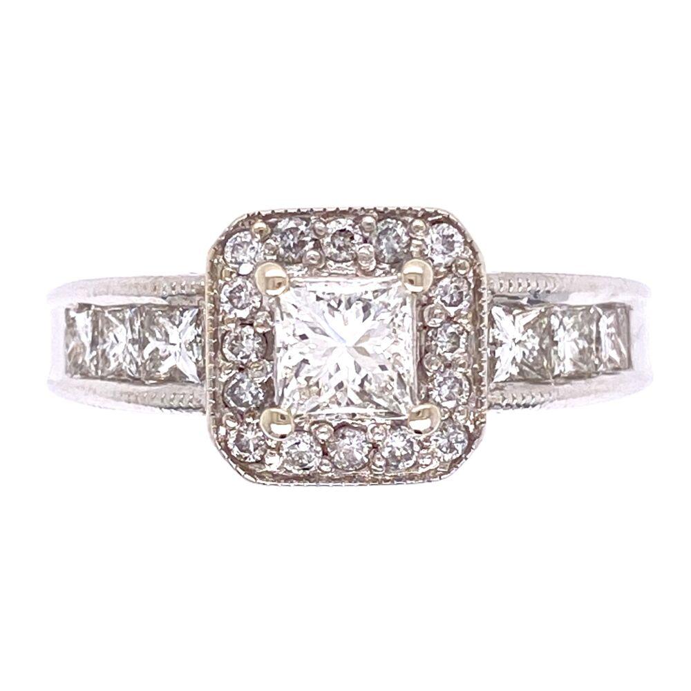 14K White Gold .60ct Princess Cut Diamond Ring w/ 6prin= .50tw & 16rb= .16tw, 5.8g, s7.25