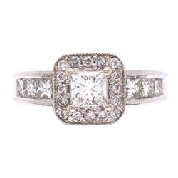 Closeup photo of 14K White Gold .60ct Princess Cut Diamond Ring w/ 6prin= .50tw & 16rb= .16tw, 5.8g, s7.25