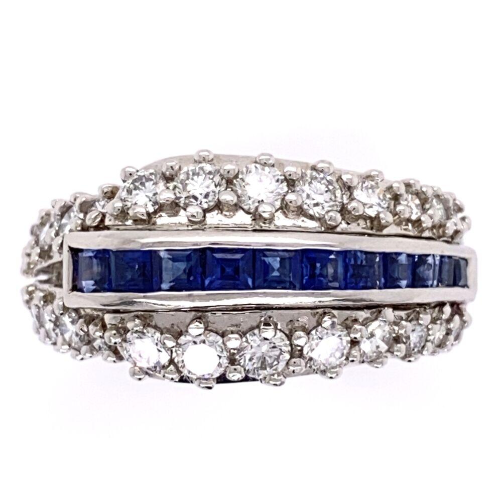 "Platinum ""Hammerman Bros"" 1.56tcw dia & French Sapphire Band Ring, 12.3g, s5.75, c1970"