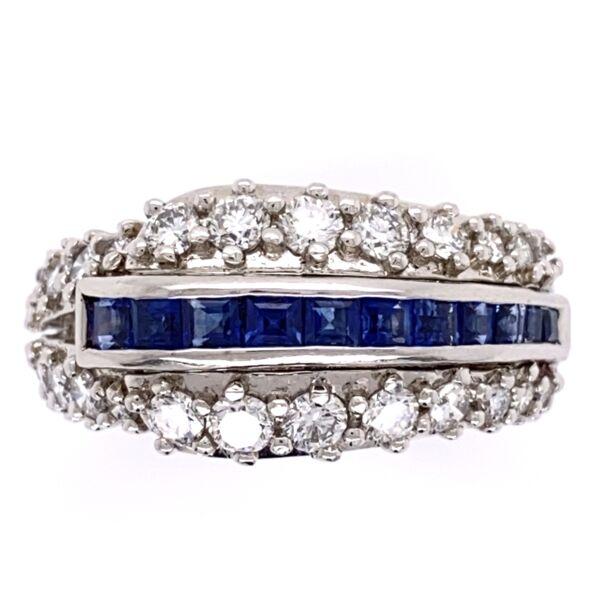"Closeup photo of Platinum ""Hammerman Bros"" 1.56tcw dia & French Sapphire Band Ring, 12.3g, s5.75, c1970"