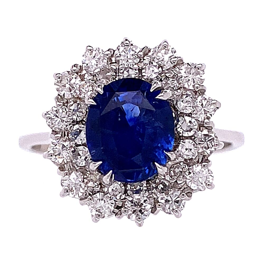 14K White Gold 2ct Natural Blue Sapphire Ring double halo diamonds 1.00tcw, 4.5g, s7