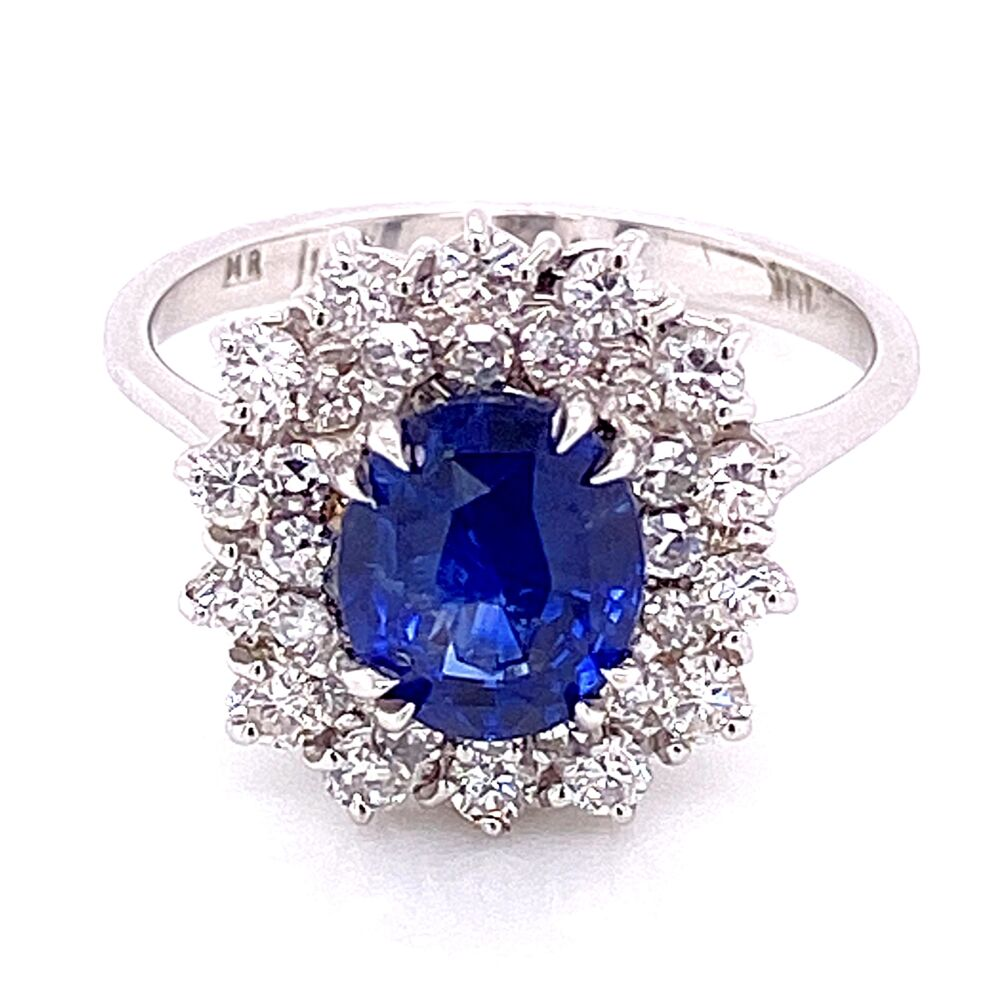 Image 2 for 14K White Gold 2ct Natural Blue Sapphire Ring double halo diamonds 1.00tcw, 4.5g, s7