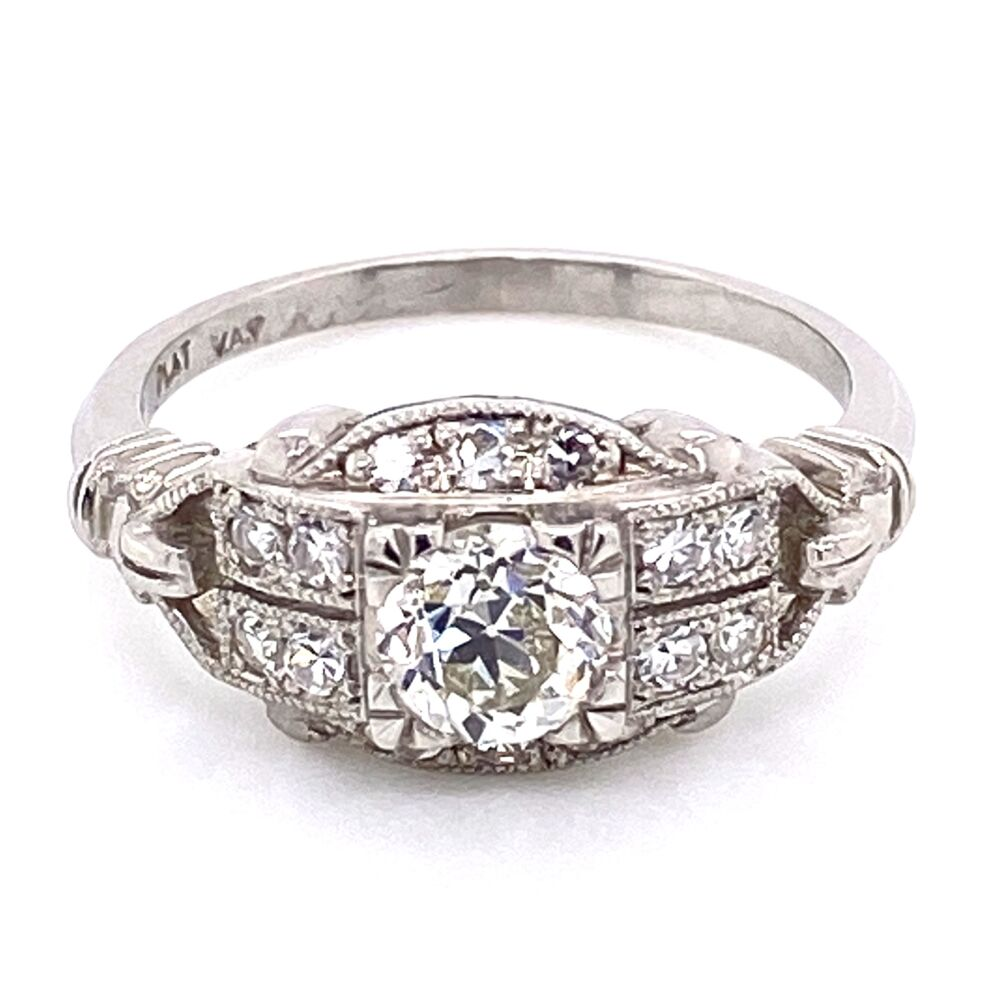 Platinum Art Deco Diamond Ring .64ct OEC Diamond & .22tw side dia, 5.7g, s6.75