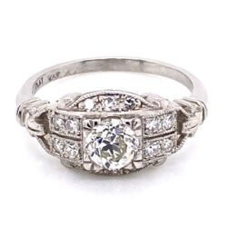 Closeup photo of Platinum Art Deco Diamond Ring .64ct OEC Diamond & .22tw side dia, 5.7g, s6.75
