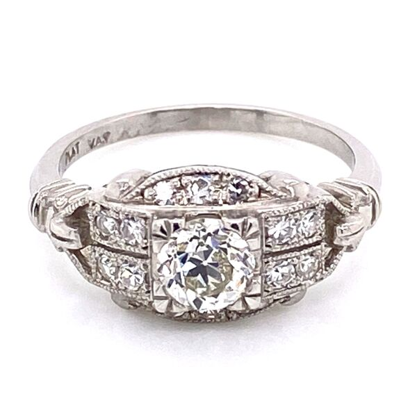 Closeup photo of Platinum Art Deco Diamond Ring .64ct OEC Diamond & .22tw side dia, 5.7g, s6.75