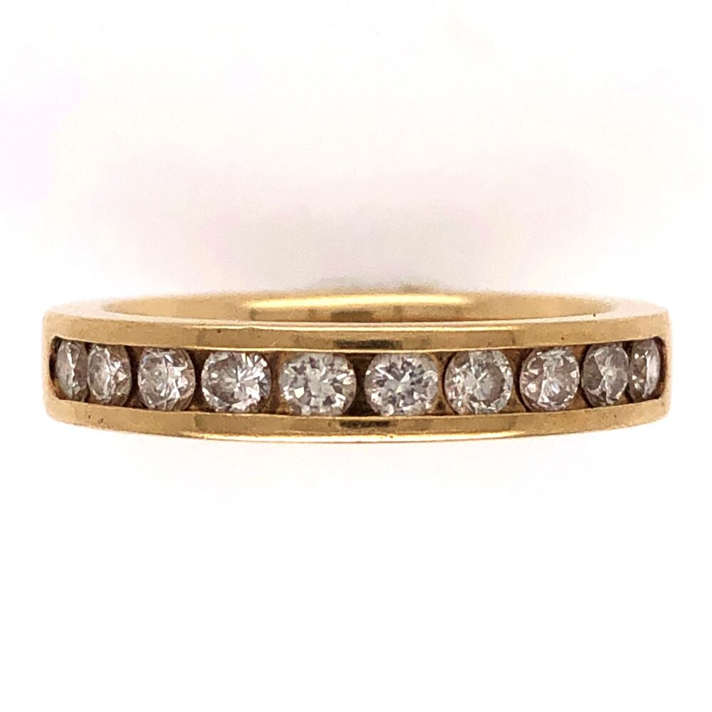 Image 2 for 18K Yellow Gold Half Way Diamond Band RIng 10dia- .50tcw, 5.3g, size 6