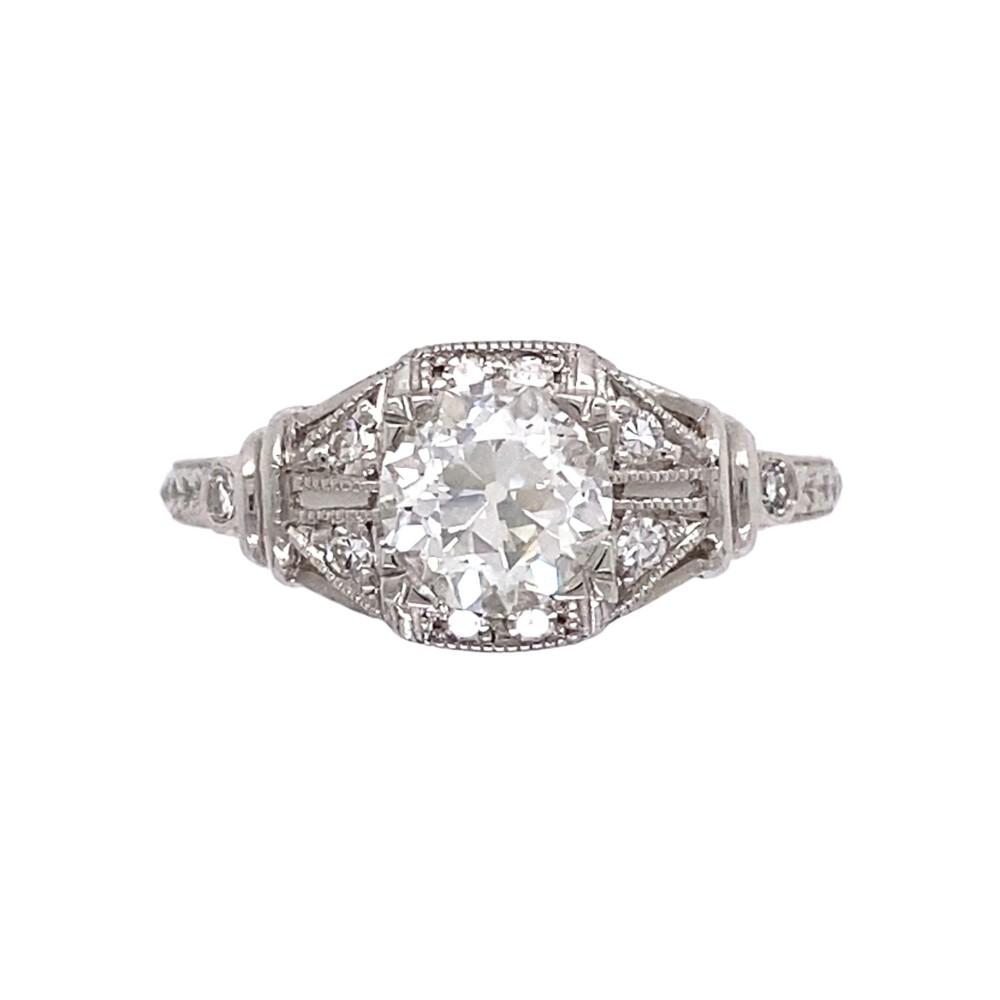 Platinum Art Deco Diamond Ring .90 OEC GIA# 2193121391, s6.75