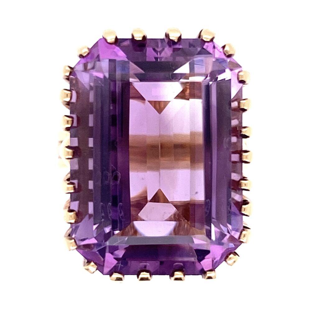 14K Yellow Gold 1960's Ring 18ct Emerald Cut Amethyst 26 prongs, 9.3g, s4