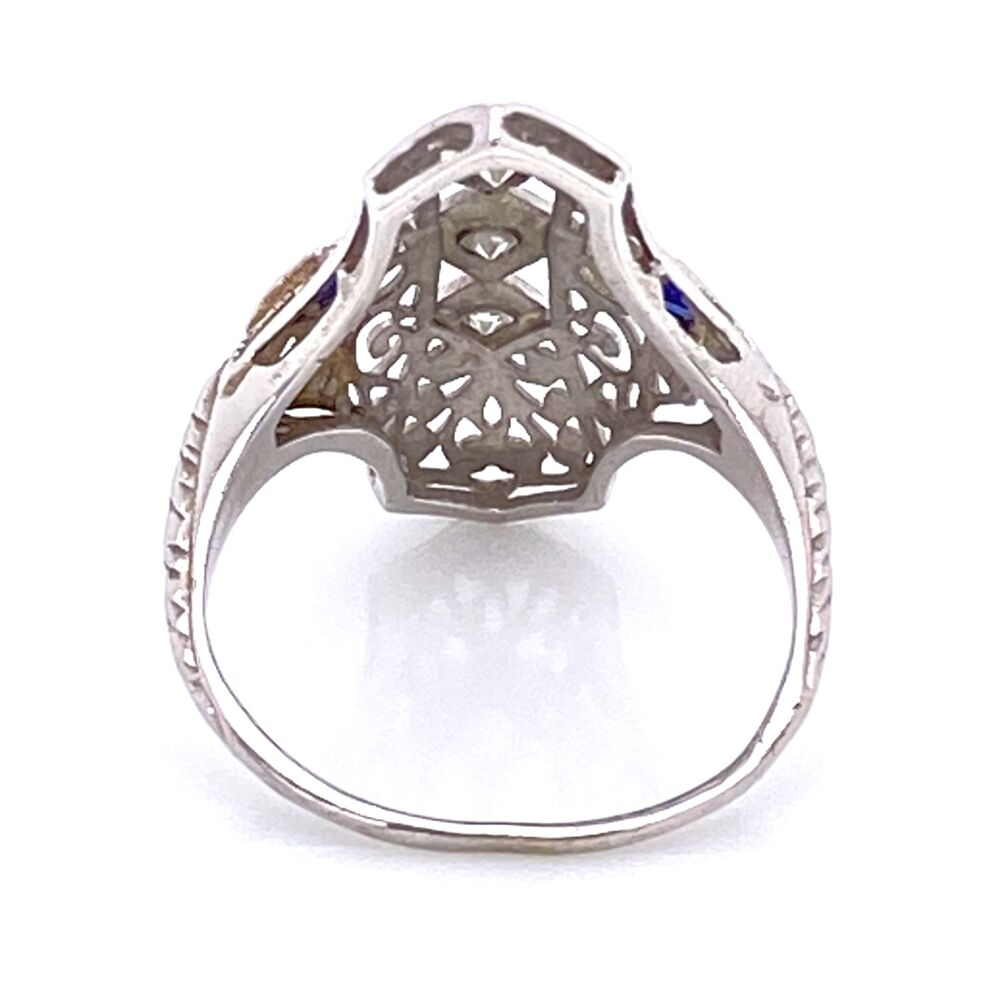 Image 2 for 18K WG Art Deco Navette Filigree Ring .10tcw, Synthetic Sapphires are Period Correct, 2.6g, s4