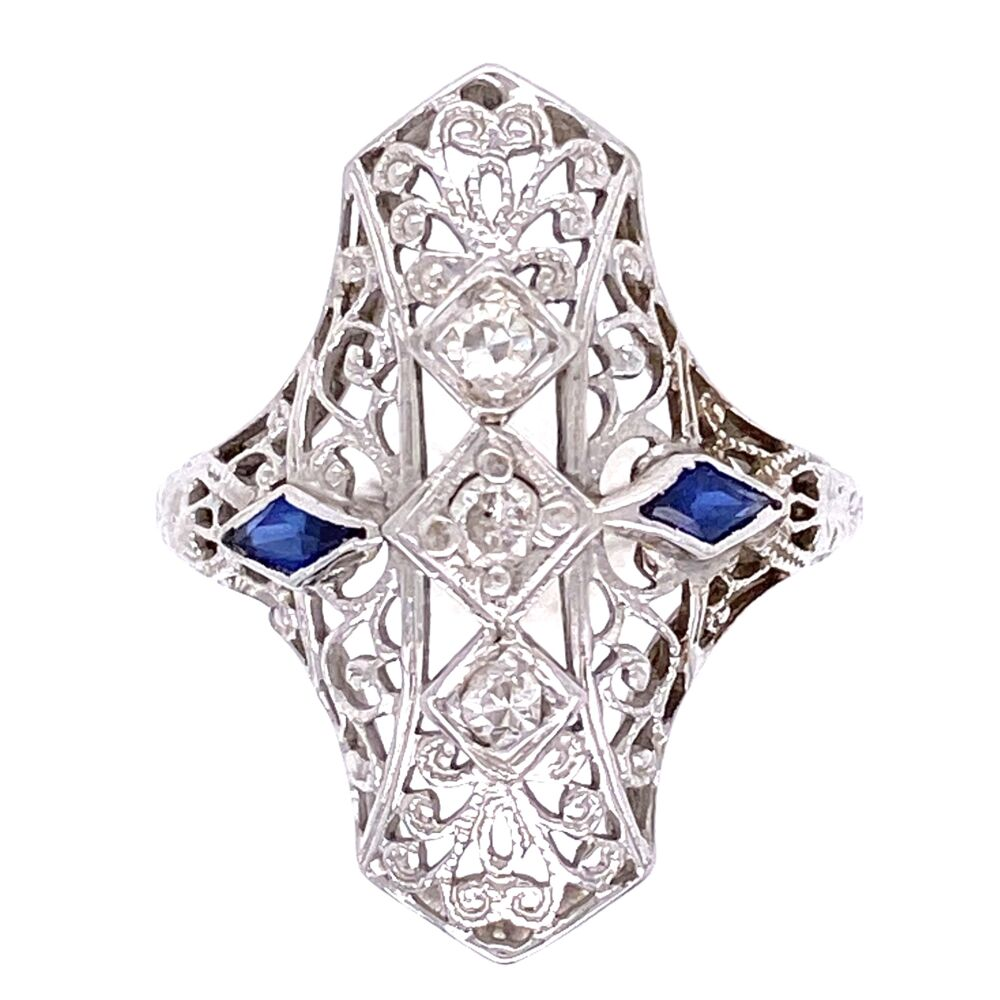 18K WG Art Deco Navette Filigree Ring .10tcw, Synthetic Sapphires are Period Correct, 2.6g, s4