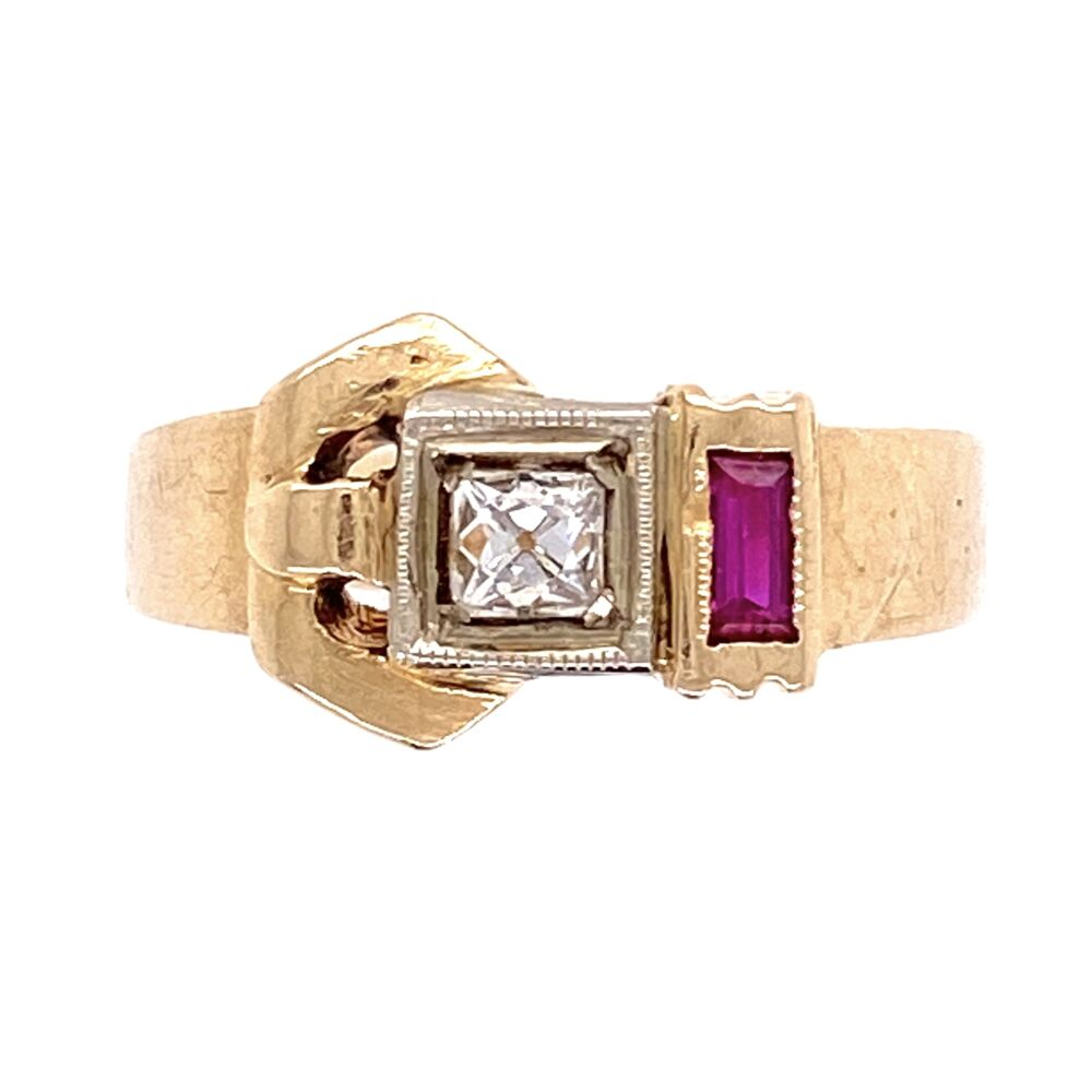 14K Rose Gold Retro Ring c1940's .10ct French Cut Diamond w/synthetic Rubies