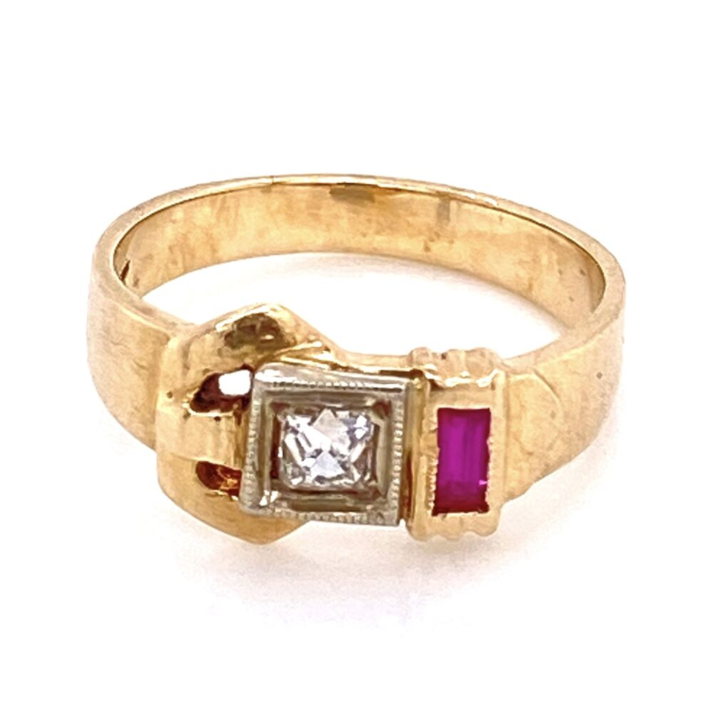 Image 2 for 14K Rose Gold Retro Ring c1940's .10ct French Cut Diamond w/synthetic Rubies