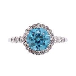 Closeup photo of 14K White Gold Pave Ring 1.80ct Round Blue Zircon & .17tcw Diamonds, s6.5