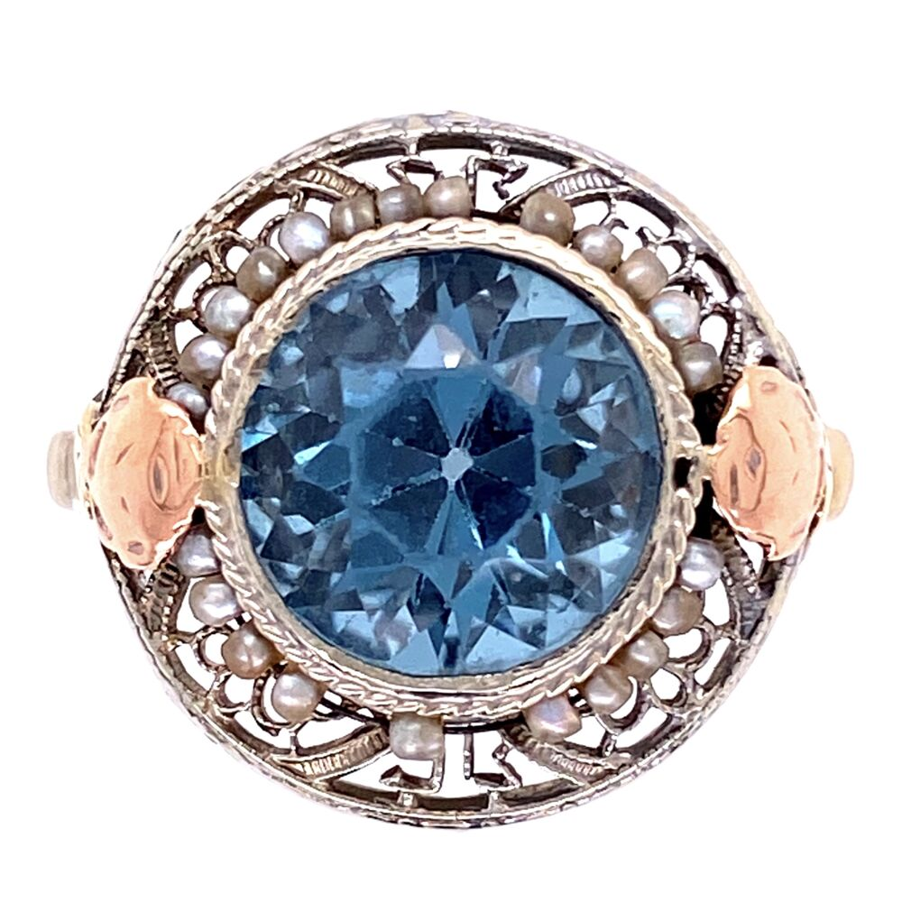 14K Gold Art Deco Ring w/ Blue Glass Stone, Seed Pearls, c1930,