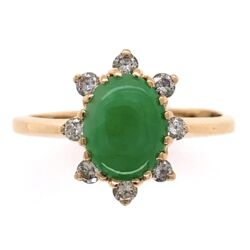 Closeup photo of 14K Yellow Gold Jadeite Jade Cabochon Ring .20tcw Diamonds, s7.5