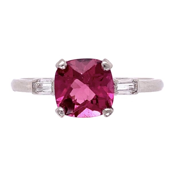 Closeup photo of Platinum 1.53ct Cushion Pink Tourmaline with 2 Diamond .20tcw 4.1g, s8.5