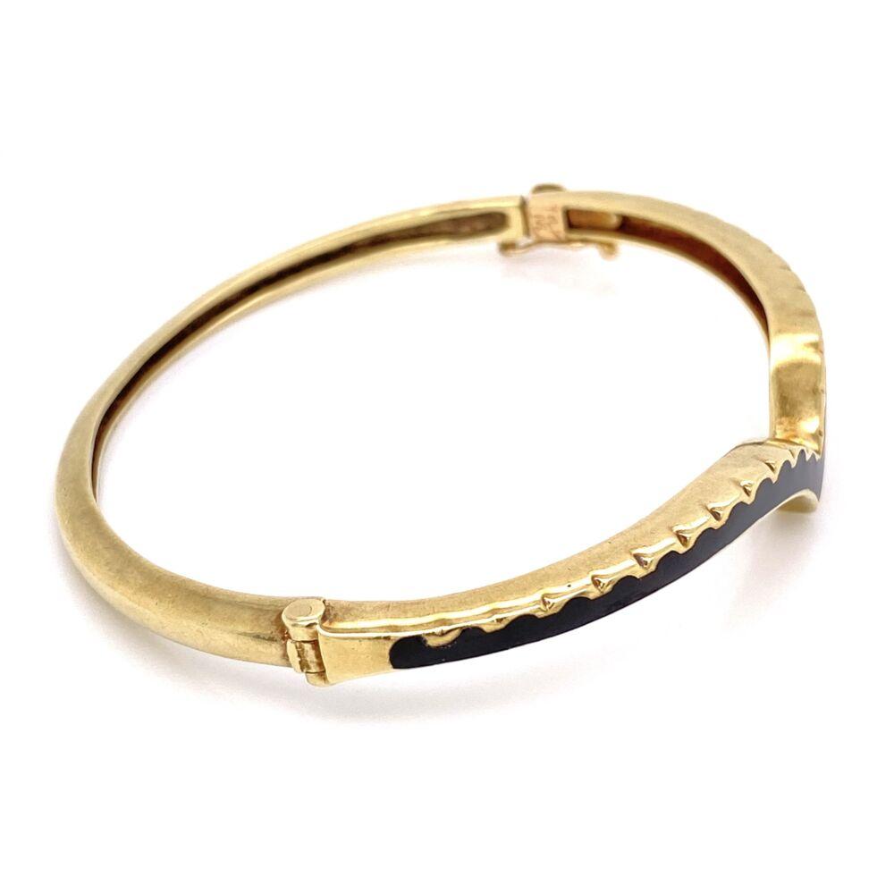 Image 2 for 14K Yellow Gold Victorian Curved Black Enamel Bangle Bracelet, 15.1g