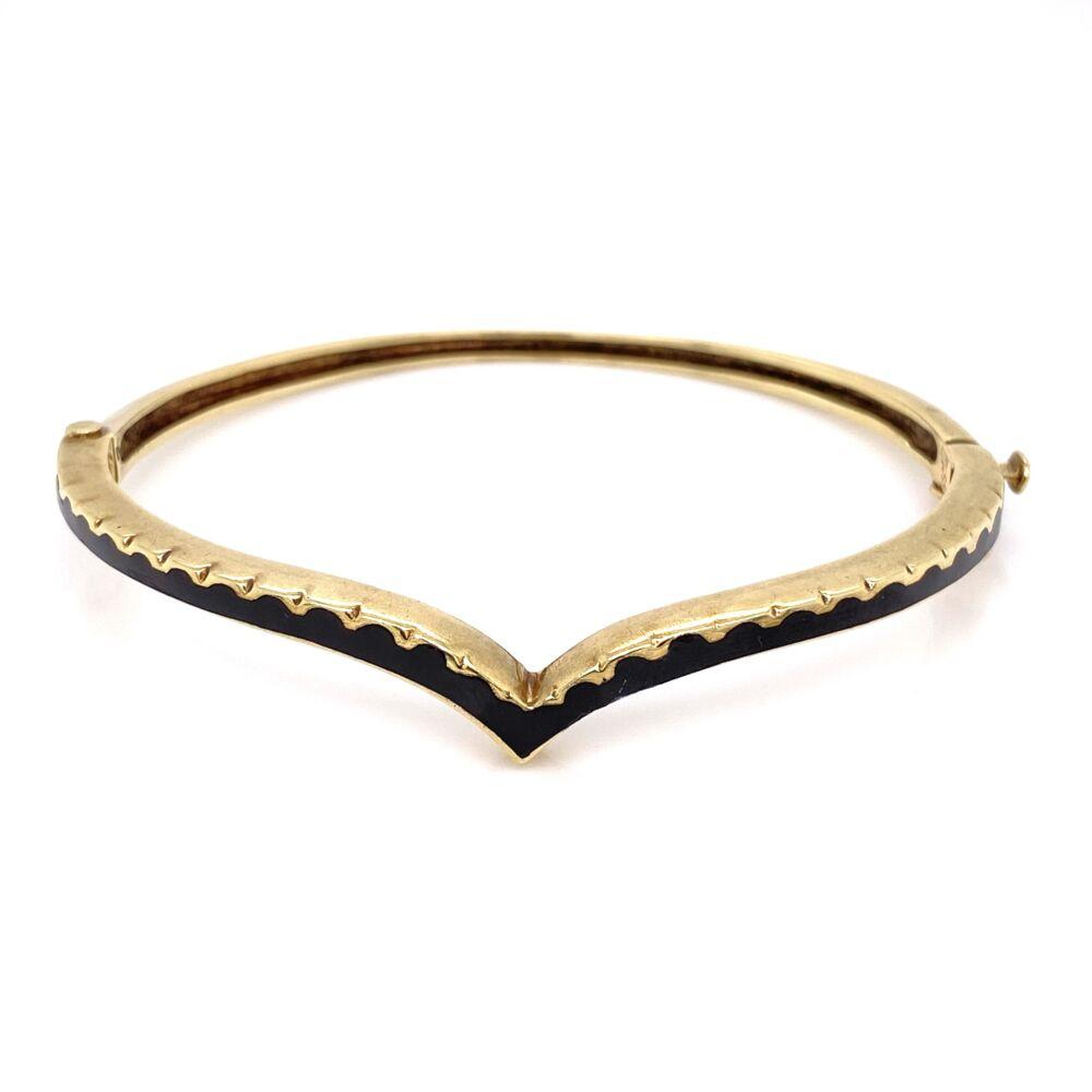14K Yellow Gold Victorian Curved Black Enamel Bangle Bracelet, 15.1g