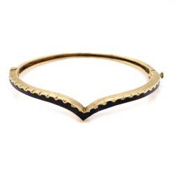 Closeup photo of 14K Yellow Gold Victorian Curved Black Enamel Bangle Bracelet, 15.1g