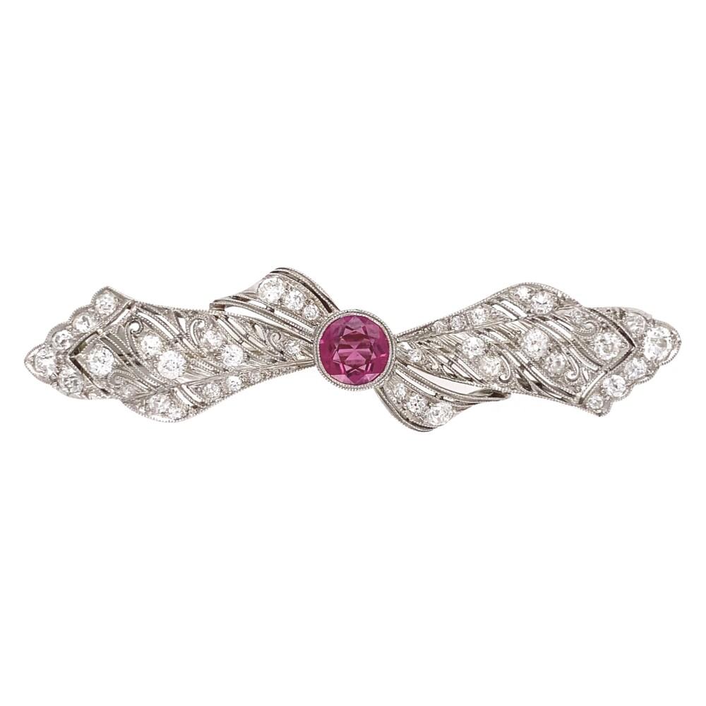 "Platinum Art Deco Bow Brooch 1.10ct Rubellite Tourmaline & 40 OEC Diamonds 2.00tcw 2.25"""