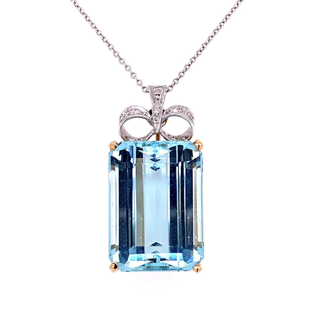 Image 2 for 18K Two-tone 22.20ct Emerald Cut Aquamarine Pendant with Diamond Bow top .10tcw c1940's