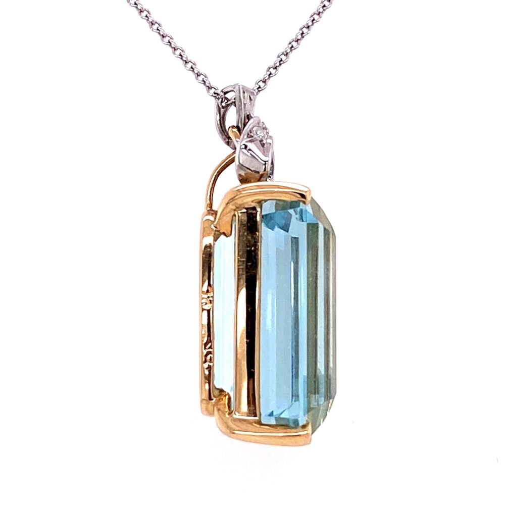 18K Two-tone 22.20ct Emerald Cut Aquamarine Pendant with Diamond Bow top .10tcw c1940's