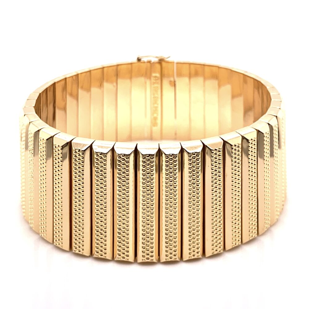 """18K Yellow Gold 1950's 1"""" Wide Rich Bracelet with Granulation 8"""", 68.3g"""