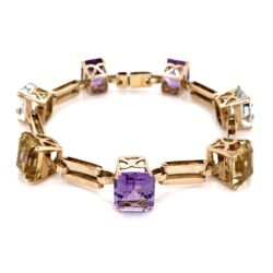 Closeup photo of 18K Yellow Gold Retro Aquamarine, Amethyst & Citrine 45.0tcw Bracelet, 28.3g, c1940's, 7""