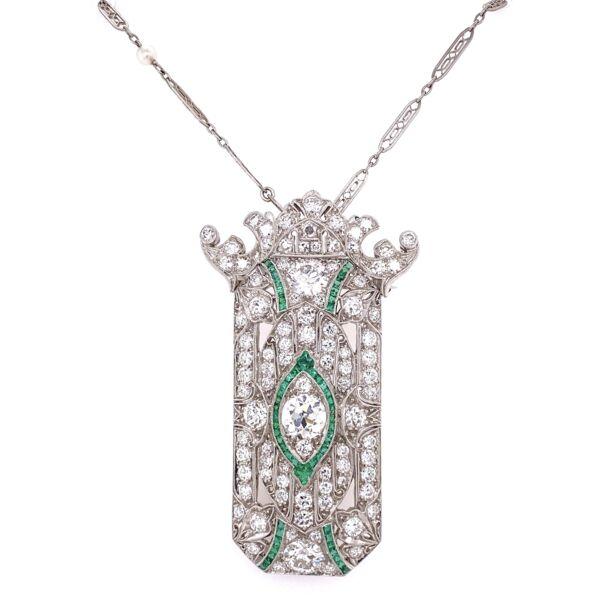 "Closeup photo of Platinum Art Deco Pendant Brooch 5.90tcw OEC Diamonds & 1.50tw Emeralds, c1920's, 16"""