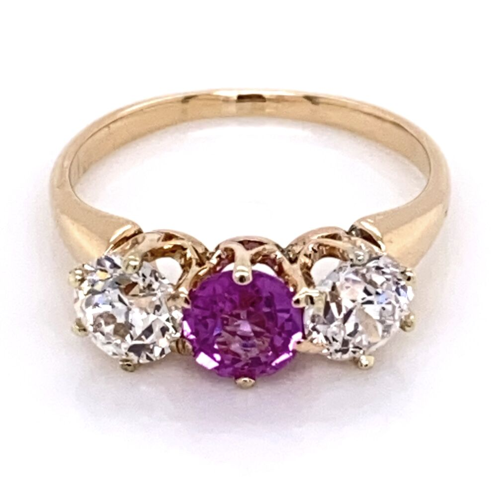14K Rose Gold VIctorian 3 stone Ring, 1 Pink Sapphire .50ct & 2 OEC Diamonds .90tcw, s5.5
