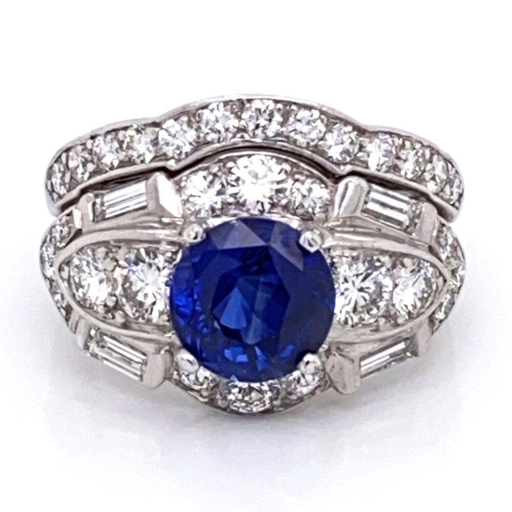Image 2 for Platinum Art Deco Ring Set 2.57ct Round Blue Sapphire & 1.80tw OEC Diamonds, s6.5