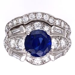 Closeup photo of Platinum Art Deco Ring Set 2.57ct Round Blue Sapphire & 1.80tw OEC Diamonds, s6.5