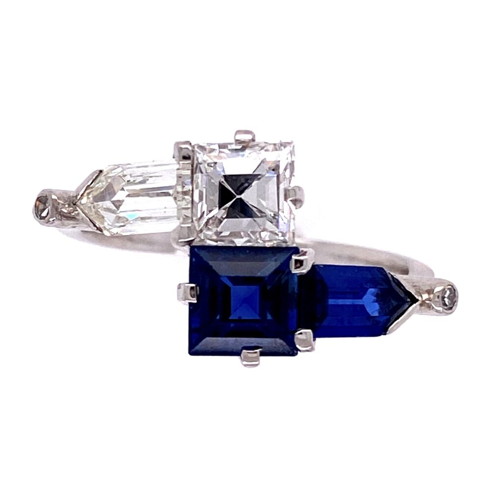 Platinum 2tcw Sapphire & .96ct and .72ct Diamond Bypass Art Deco Ring, c1930's, s8