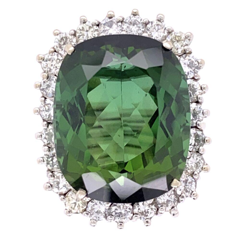 14K White Gold 18.63ct Green Tourmaline Ring with 1.70tcw Diamonds, c1960's, s7.5