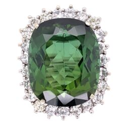 Closeup photo of 14K White Gold 18.63ct Green Tourmaline Ring with 1.70tcw Diamonds, c1960's, s7.5