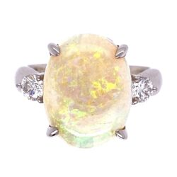 Closeup photo of Platinum 6.34ct White Australian Opal & .34tcw diamond Ring, s7