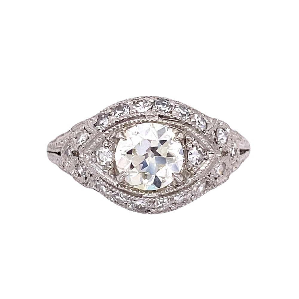 Platinum Art Deco .79ct OEC Ring with .36tcw side diamonds, c1930's, s6.75