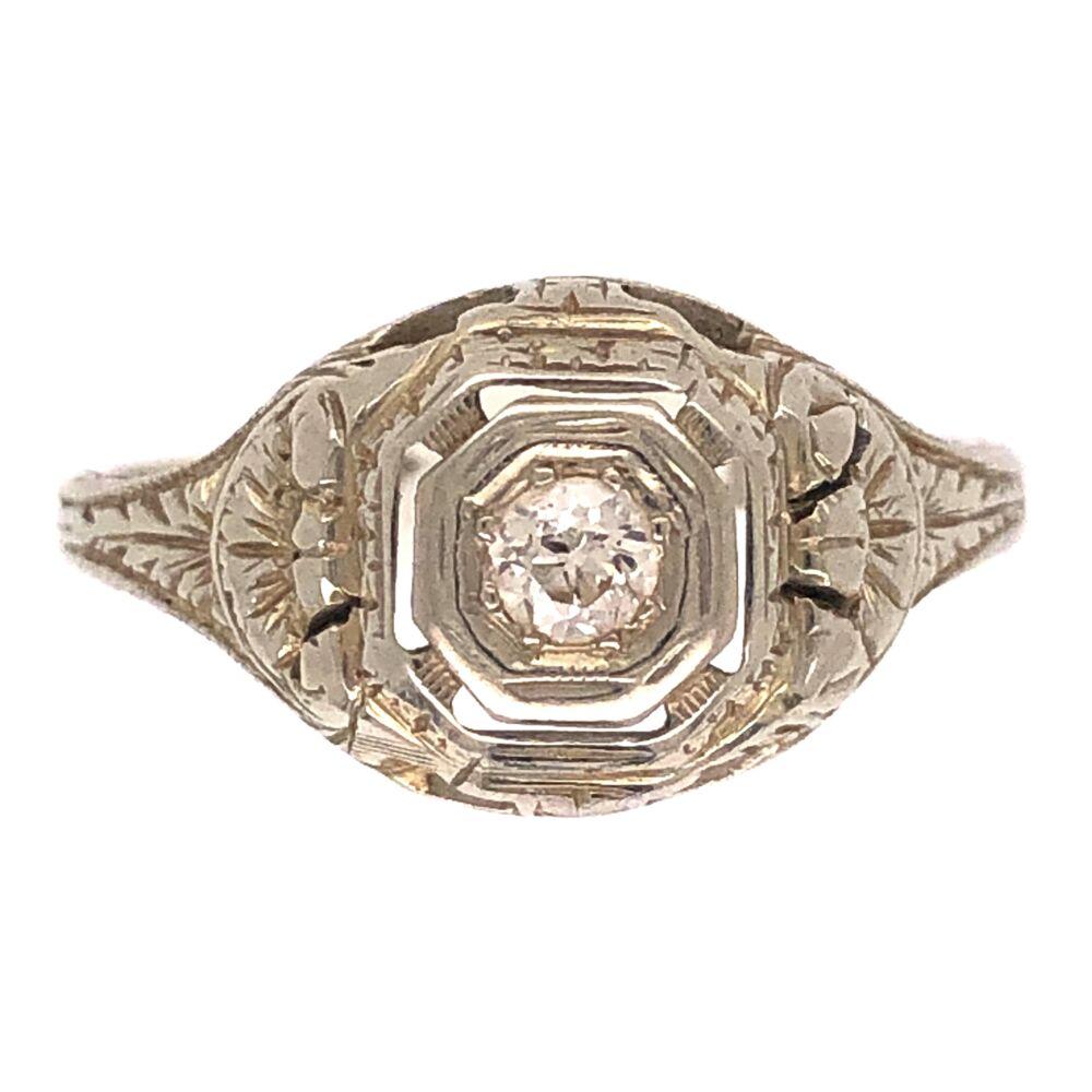 18K WG Art Deco Ring .10ct OEC Diamond, engraving 2.6g, s5